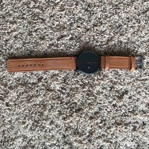 Other - Tan/Khaki Men's Leather Wristwatch Black Face